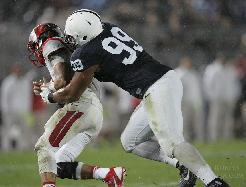 State College, PA - 09/19/2015:  Rutgers QB Chris Laviano is sacked by DT Austin Johnson. Laviano was sacked 5 times during the game. Penn State defeated Rutgers by a score of 28-3 on Saturday, September 19, 2015, at Beaver Stadium in University Park, PA.<br /> <br /> Photos by Joe Rokita / JoeRokita.com