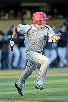 Third baseman Joe Cronin (4) of the Boston College Eagles runs toward first in a game against the Wofford College Terriers on Friday, February 13, 2015, at Russell C. King Field in Spartanburg, South Carolina. Wofford won, 8-4. (Tom Priddy/Four Seam Images)