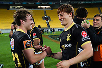 Connor Collins and Ruben Love after the Mitre 10 Cup rugby match between Wellington Lions and  Bay Of Plenty Steamers at Sky Stadium in Wellington, New Zealand on Friday, 25 September 2020. Photo: Dave Lintott / lintottphoto.co.nz