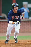 Elizabethton Twins left fielder Max Kepler #23 runs to first during a game against the Greenville Astros at Joe O'Brien Field on August 21, 2012 in Elizabethton, Tennessee. The Twins  defeated the Astros 7-5 (Tony Farlow/Four Seam Images).
