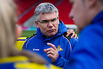 Doncaster Rovers Belles 1 Chelsea Ladies 4, 20/03/2016. Keepmoat Stadium, Womens FA Cup. Doncaster Rovers Belles Head Coach Glenn Harris talks to his team after the match. Photo by Paul Thompson.
