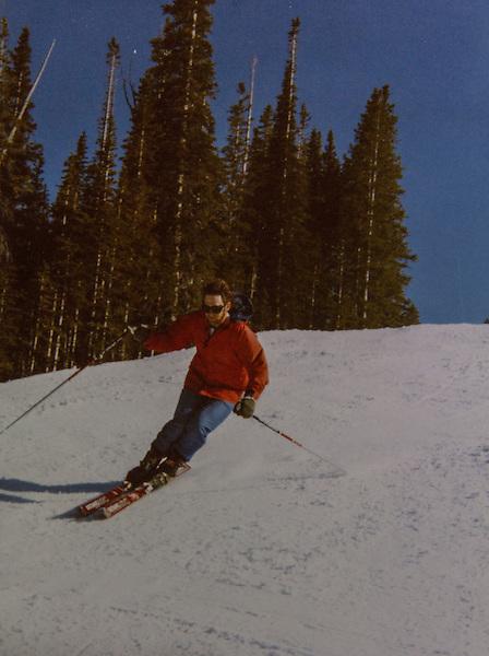 John skiing before kids, helmets and shaped skis, Colorado.