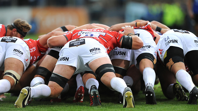 The teams scrum down during the Gallagher Premiership Rugby match between Bath Rugby and Gloucester Rugby at The Recreation Ground on Saturday 8th September 2018 (Photo by Rob Munro/Stewart Communications)