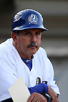 Rancho Cucamonga Quakes Manager Juan Bustabad #14 before a game against the Inland Empire 66'ers at The Epicenter on April 7, 2012 in Rancho Cucamonga,California. Rancho Cucamonga defeated Inland Empire 5-4.(Larry Goren/Four Seam Images)