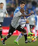 CD Leganes' Erik Moran (r) and Deportivo de la Coruna's Gael Kakuta during La Liga match. February 25,2017. (ALTERPHOTOS/Acero)