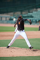 GCL Orioles relief pitcher Felix Bautista (55) delivers a pitch during the first game of a doubleheader against the GCL Twins on August 1, 2018 at CenturyLink Sports Complex Fields in Fort Myers, Florida.  GCL Twins defeated GCL Orioles 7-6 in the completion of a suspended game originally started on July 31st, 2018.  (Mike Janes/Four Seam Images)