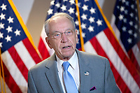United States Senator Chuck Grassley (Republican of Iowa) speaks to press as he arrives to GOP Policy Luncheons at the United States Capitol in Washington D.C., U.S., on Wednesday, June 24, 2020.  Credit: Stefani Reynolds / CNP/AdMedia