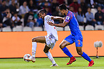 Mohamed Saad Alromaihi of Bahrain (L) competes for the ball with Salam Ranjan Singh of India during the AFC Asian Cup UAE 2019 Group A match between India (IND) and Bahrain (BHR) at Sharjah Stadium on 14 January 2019 in Sharjah, United Arab Emirates. Photo by Marcio Rodrigo Machado / Power Sport Images
