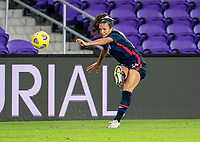 ORLANDO, FL - FEBRUARY 24: Sophia Smith #17 of the USWNT crosses the ball during a game between Argentina and USWNT at Exploria Stadium on February 24, 2021 in Orlando, Florida.