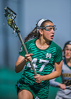 30 March 2016: Manhattan College Jasper Defender Emma Kaishian, a Freshman from Yorktown, NY, in action against the University of Vermont Catamounts at Virtue Field in Burlington, Vermont. The Lady Cats defeated the Jaspers 11-5 in non-conference play. Mandatory Credit: Ed Wolfstein Photo *** RAW (NEF) Image File Available ***