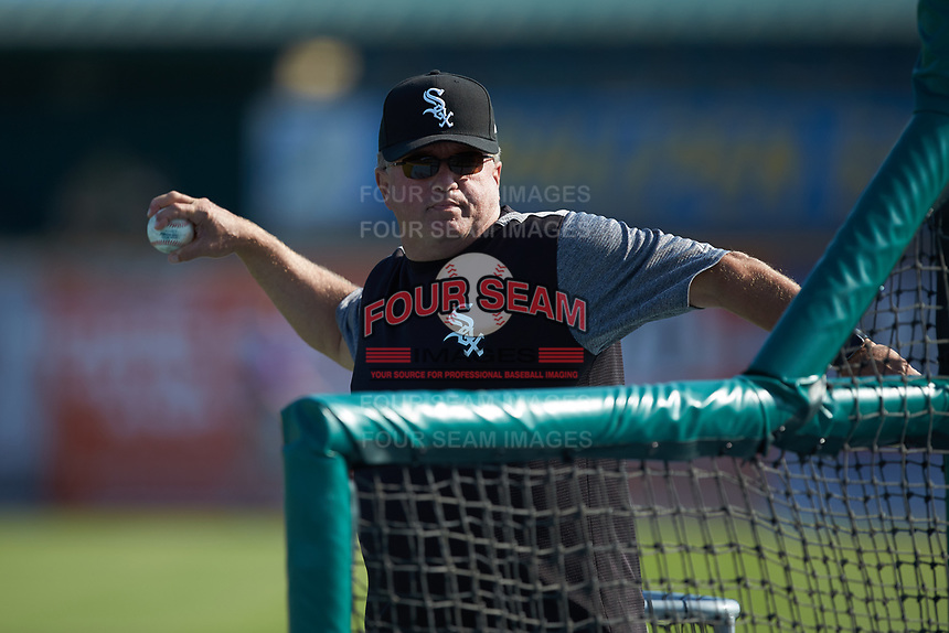 Kirk Champion, Chicago White Sox director of Minor League pitching instruction, throws a round of batting practice for the Winston-Salem Dash prior to the game against the Myrtle Beach Pelicans at TicketReturn.com Field on May 16, 2019 in Myrtle Beach, South Carolina. The Dash defeated the Pelicans 6-0. (Brian Westerholt/Four Seam Images)