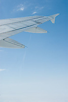 Airplane wing & blue sky<br />