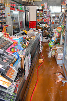 Pictured: A flooded shop in Messini, near the town of Kalamata, Messinia, Greece. Wednesday 07 September 2016<br /> Re: Severe flash flooding has affected parts of Messinia County in southern Greece.