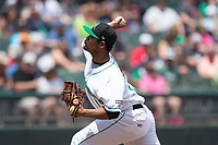 Dayton Dragons starting pitcher Tony Santillan (19) in action against the West Michigan Whitecaps at Fifth Third Field on May 29, 2017 in Dayton, Ohio.  The Dragons defeated the Whitecaps 4-2.  (Brian Westerholt/Four Seam Images)