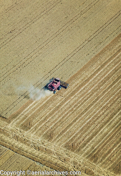 aerial photograph of harvesting in the Central Valley, California