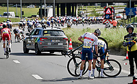 teammates Oliver Stockwell (GBR) & Robert Donaldson (GBR) both victim of a crash in the pre-race neutral zone<br /> <br /> U23 - Road Race (WC)<br /> race from Antwerp to Leuven (161.1km)<br /> <br /> UCI Road World Championships - Flanders Belgium 2021<br /> <br /> ©kramon