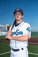 Everett AquaSox infielder Matt Sanders (4) poses for a photo before a Northwest League game against the Tri-City Dust Devils at Everett Memorial Stadium on September 3, 2018 in Everett, Washington. The Everett AquaSox defeated the Tri-City Dust Devils by a score of 8-3. (Zachary Lucy/Four Seam Images)