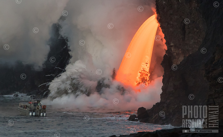 Feeling the Heat: The largest fire hose of lava in history pours into the ocean, creating explosions of molten rock near a too-close tour boat, Hawai'i Volcanoes National Park, Big Island, February 2017.