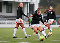 Luna Vanzeir of OHL (10) shoots at the goal before  a female soccer game between Oud Heverlee Leuven and Femina White Star Woluwe  on the 5 th matchday of the 2020 - 2021 season of Belgian Womens Super League , Sunday 18 th of October 2020  in Heverlee , Belgium . PHOTO SPORTPIX.BE | SPP | SEVIL OKTEM