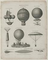 Hot air balloons, 1818 drawing