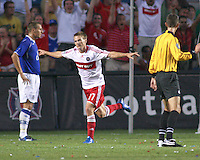 Chicago Fire forward Chris Rolfe (17), celebrates after scoring a goal.  The Chicago Fire defeated English Premier League Team Everton FC 2-0 in a friendly match at Toyota Park in Bridgeview, IL, on July 30, 2008.