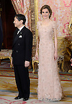 Princess Letizia of Spain and the Imperial Highness the Crown Prince of Japan Hiro-no-miya Naruhito Shinno attend the honor dinner in the Royal Palace.June 12,2013. (ALTERPHOTOS/Pool)