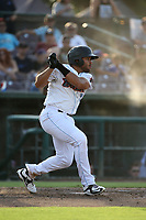 Jose Rojas (3) of the Inland Empire 66ers bats against the Rancho Cucamonga Quakes at San Manuel Stadium on July 9, 2017 in San Bernardino, California. Inland Empire defeated Rancho Cucamonga 12-2. (Larry Goren/Four Seam Images)