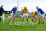 Shane Nolan, and Fionan Mackessy, Kerry, in action against Shane Whitty, Meath and Stephen Morris, Meath during the Round 1 meeting of Kerry and Meath in the Joe McDonagh Cup at Austin Stack Park in Tralee on Sunday.