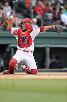 Catcher Danny Bethea (26) of the Greenville Drive in a game against the Charleston RiverDogs on Monday, June 29, 2015, at Fluor Field at the West End in Greenville, South Carolina. Greenville won, 4-2. (Tom Priddy/Four Seam Images)
