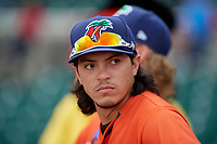 Fort Myers Miracle pitcher Dereck Rodriguez (34) during the Home Run Derby before the Florida State League All-Star Game on June 17, 2017 at Joker Marchant Stadium in Lakeland, Florida.  FSL North All-Stars defeated the FSL South All-Stars  5-2.  (Mike Janes/Four Seam Images)