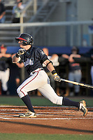 Second baseman Matt Gonzalez (1) of the Danville Braves bats in a game against the Johnson City Cardinals on Friday, July 1, 2016, at Legion Field at Dan Daniel Memorial Park in Danville, Virginia. Johnson City won, 1-0. (Tom Priddy/Four Seam Images)