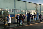 Tranmere Rovers 1 Walsall 3, 05/12/2020. Prenton Park, League Two. The first supporters permitted to attend the game queueing outside the ground two hours prior to kick-off before Tranmere Rovers host Walsall in a League Two fixture at Prenton Park, Birkenhead. The game was the first of the season at which spectators were allowed to be present under the Covid-19 restrictions. A crowd of 2000 watched the game which was won by the visitors by 3-1. Photo by Colin McPherson.