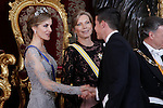 Spanish Royals host a dinner for the Colombian President Juan Manuel Santos and his wife Maria Clemencia Rodriguez in Madrid, Spain. In the pic: Queen Letizia of Spain and James Rodriguez. March 02, 2015. (Jose Luis Cuesta/POOL/ALTERPHOTOS)
