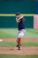 Lowell Spinners starting pitcher Thad Ward (41) delivers a pitch during a game against the Connecticut Tigers on August 26, 2018 at Dodd Stadium in Norwich, Connecticut.  Connecticut defeated Lowell 11-3.  (Mike Janes/Four Seam Images)