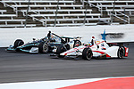 Verizon IndyCar Series driver Tristan Vautier (18) and Verizon IndyCar Series driver Josef Newgarden (2) in action during the RainGuard 600 race at Texas Motor Speedway in Fort Worth,Texas.
