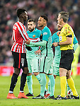Neymar da Silva Santos Junior of FC Barcelona argues with Inaki Williams Arthuer of Athletic Club as referee David Fernandez Borbalan looks on during their Copa del Rey Round of 16 first leg match between Athletic Club and FC Barcelona at San Mames Stadium on 05 January 2017 in Bilbao, Spain. Photo by Victor Fraile / Power Sport Images