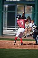 Julian De Alva (3) of Ironwood Ridge High School in Oro Valley, Arizona during the Baseball Factory All-America Pre-Season Tournament, powered by Under Armour, on January 13, 2018 at Sloan Park Complex in Mesa, Arizona.  (Mike Janes/Four Seam Images)