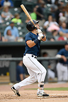 First baseman Jeremy Vasquez (20) of the Columbia Fireflies bats in a game against the Greenville Drive on Sunday, May 27, 2018, at Spirit Communications Park in Columbia, South Carolina. Greenville won, 3-0. (Tom Priddy/Four Seam Images)