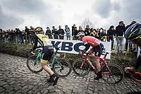 JANSEN Amund Grøndahl (NOR/Lotto Jumbo NL) on foot on the Koppenberg.<br /> <br /> 102nd Ronde van Vlaanderen 2018<br /> 1day race: Antwerp › Oudenaarde - BEL (265k)