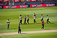 The Black Caps celebrate the dismissal of Aaron Finch during the 5th international men's T20 cricket match between the New Zealand Black Caps and Australia at Sky Stadium in Wellington, New Zealand on Sunday, 7 March 2021. Photo: Dave Lintott / lintottphoto.co.nz