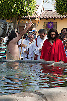 John the Baptist Preparing to Baptize Jesus.   Palm Sunday Re-enactment of events in the life of Jesus, by the group called Luna LLena (Full Moon), a group of volunteers in Antigua, Guatemala.