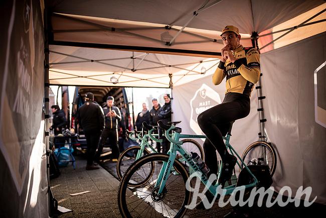 Wout van Aert (BEL/Jumbo - Visma) warming up for his first race back after his severe crash in the 2019 Tour de France.<br /> <br /> Azencross Loenhout 2019 (BEL)<br />  <br /> ©kramon