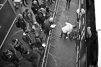 as soon as the OPQS teambus arrived, fans started flocking around it<br /> <br /> Liège-Bastogne-Liège 2014