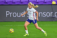 18th February 2021, Orlando, Florida, USA;  United States midfielder Lindsey Horan (9) dribbles the ball during a SheBelieves Cup game between Canada and the United States on February 18, 2021 at Exploria Stadium in Orlando, FL.