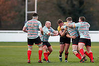 Tom Baldwin of Blackheath Rugby looks to charge through during the English National League match between Richmond and Blackheath  at Richmond Athletic Ground, Richmond, United Kingdom on 4 January 2020. Photo by Carlton Myrie.