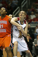 8 March 2008: Stanford Cardinal Ashley Cimino during Stanford's 64-41 win against the Oregon State Beavers in the 2008 State Farm Pac-10 Women's Basketball tournament at HP Pavilion in San Jose, CA.