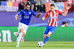Saul Niguez Esclapez (r) of Atletico de Madrid is challenged by Riyad Mahrez of Leicester City during their 2016-17 UEFA Champions League Quarter-Finals 1st leg match between Atletico de Madrid and Leicester City at the Estadio Vicente Calderon on 12 April 2017 in Madrid, Spain. Photo by Diego Gonzalez Souto / Power Sport Images