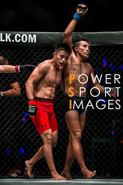 Bantamweight World Championship MA Haobin of China vs Chan Rothana of Cambodia in action during the One Championship - Heroes of the World on August 13, 2016 in Macau, China. Photo by Marcio Machado / Power Sport Images