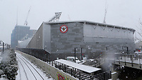 General view of Brentford FC Community Stadium from outside the ground covered in snow during Brentford vs Leicester City, Emirates FA Cup Football at the Brentford Community Stadium on 24th January 2021