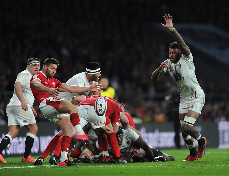 Courtney Lawes of England  attempts to charge down Rhys Webb of Wales' clearance kick during the Guinness Six Nations match between England and Wales at Twickenham Stadium on Saturday 7th March 2020 (Photo by Rob Munro/Stewart Communications)